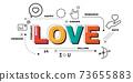 Design Concept Of Word LOVE Website Banner. 73655883