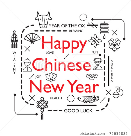 Design Concept Of Word CHINESE NEW YEAR Website Banner. 73655885