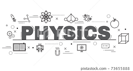 Design Concept Of Word PHYSICS Website Banner. 73655888