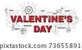 Design Concept Of Word VALENTINE'S DAY Website Banner. 73655891
