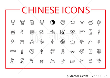 Chinese New Year Line Icons Set. 73655897