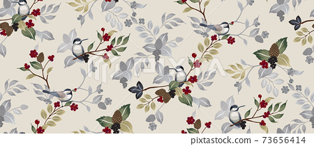Vector illustration of a seamless floral pattern with cute birds in winter for Wedding, anniversary, birthday and party. Design for banner, poster, card, invitation and scrapbook  73656414
