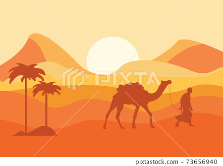 Desert Landscape with Cactus, Hills and Mountains Silhouettes. Vector Nature Horizontal Background 73656940