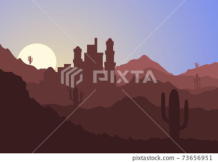 Desert Landscape with Cactus, Hills and Mountains Silhouettes. Vector Nature Horizontal Background 73656951