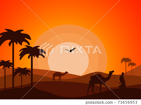 Desert Landscape with Cactus, Hills and Mountains Silhouettes. Vector Nature Horizontal Background 73656953