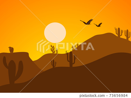 Desert Landscape with Cactus, Hills and Mountains Silhouettes. Vector Nature Horizontal Background 73656984