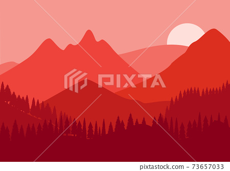 Desert Landscape with Cactus, Hills and Mountains Silhouettes. Vector Nature Horizontal Background 73657033
