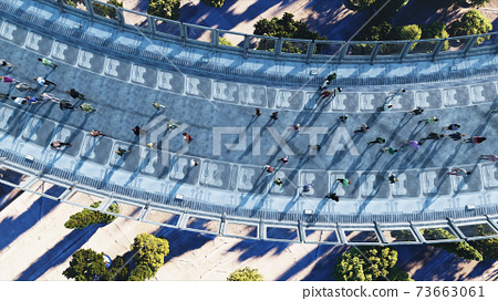 3d people in Sci fi tonnel. Traffic. Concept of future. 3d rendering. 73663061