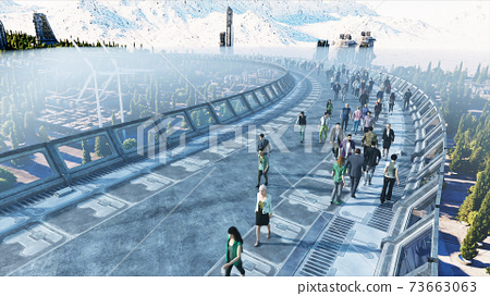 3d people in Sci fi tonnel. Traffic. Concept of future. 3d rendering. 73663063