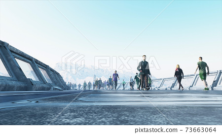 3d people in Sci fi tonnel. Traffic. Concept of future. 3d rendering. 73663064
