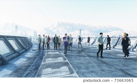 3d people in Sci fi tonnel. Traffic. Concept of future. 3d rendering. 73663065