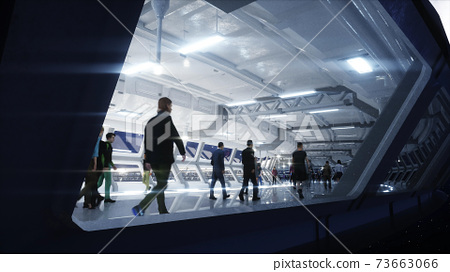 3d people in Sci fi tonnel. Traffic. Concept of future. 3d rendering. 73663066