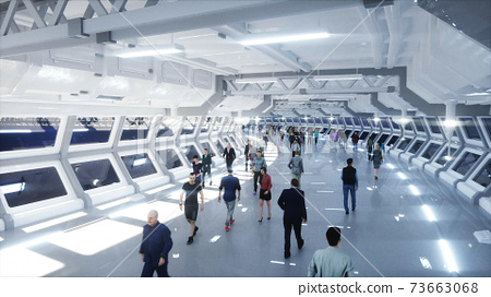 3d people in Sci fi tonnel. Traffic. Concept of future. 3d rendering. 73663068