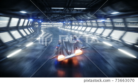 futuristic car fast driving in sci fi tunnel, coridor. Concept of future. 3d rendering. 73663070