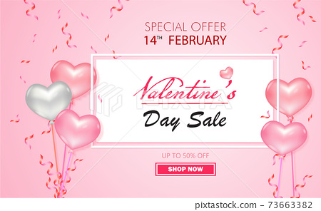 Special offer Valentine's Day Sale up to 50% off with pink and white balloon pink color of vector. 73663382