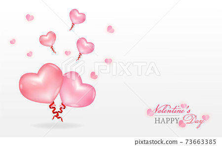 Love and Valentine's Day balloon Postcard and mini heart and balloon of heart pink color of vector. 73663385