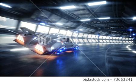 futuristic car fast driving in sci fi tunnel, coridor. Concept of future. 3d rendering. 73663841
