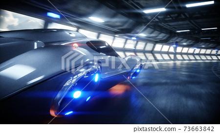 futuristic car fast driving in sci fi tunnel, coridor. Concept of future. 3d rendering. 73663842