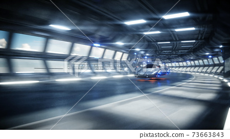 futuristic car fast driving in sci fi tunnel, coridor. Concept of future. 3d rendering. 73663843