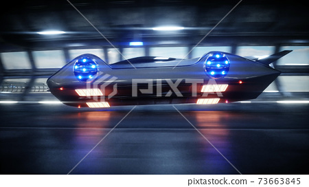 futuristic car fast driving in sci fi tunnel, coridor. Concept of future. 3d rendering. 73663845