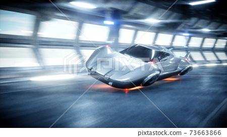 futuristic car fast driving in sci fi tunnel, coridor. Concept of future. 3d rendering. 73663866