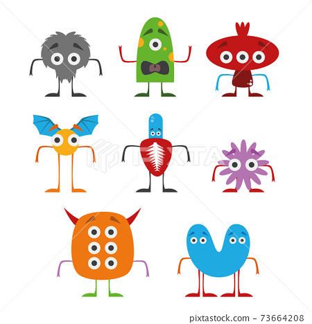 Set of funny monsters vector illustration in white background. Isolated. 73664208