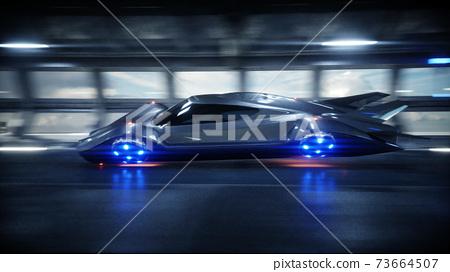 futuristic car fast driving in sci fi tunnel, coridor. Concept of future. 3d rendering. 73664507