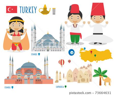 Turkey Flat Icon Set Travel and tourism concept. Vector illustration 73664631