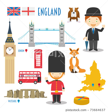 England Flat Icon Set Travel and tourism concept. Vector illustration 73664637