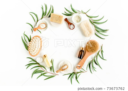 Spa concept with eucalyptus oil and eucalyptus leaf extract natural organic spa cosmetics products eco friendly bathroom accessories.Skincare concept  73673762