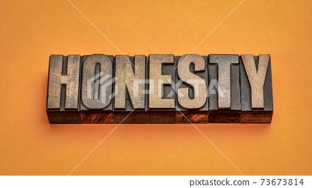 honesty word abstract in vintage letterpress wood type 73673814