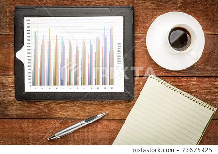 column business chart on tablet 73675925