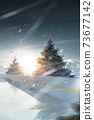 Rink. Vertical banner. Sunset in the mountains. Spruce trees around the rink 73677142