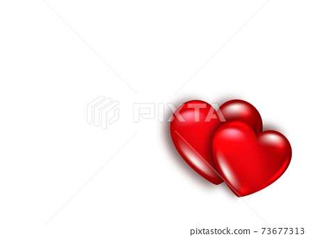 red glossy 3d illustration two hearts shape sign concept Love romance valentine affection couple proposal happy marriage engagement, vector isolated on white background 73677313