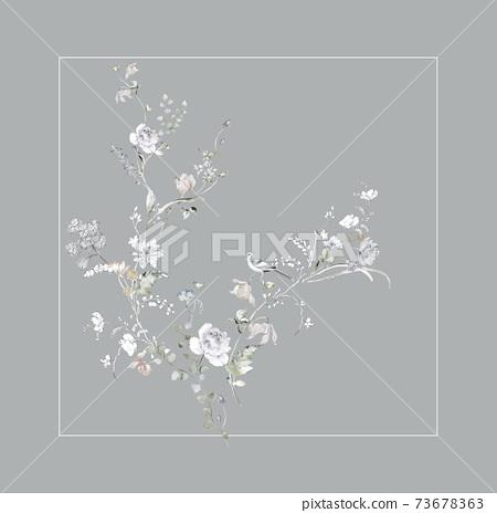 色彩豐富的花卉素材組合和設計元素 73678363