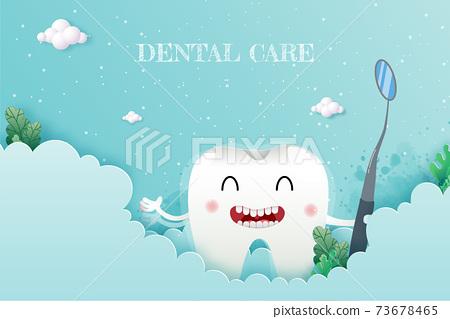 Teeth cute cartoon dental care on blue background, oral dental hygiene, children dentistry concept. Vector Illustration 73678465
