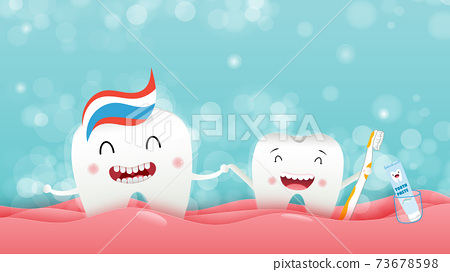 Cute cartoon with happy tooth character oral dental hygiene, taking a shower to clean the body, children dentistry concept. Vector Illustration 73678598