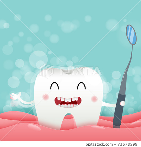 Cute cartoon with happy tooth character oral dental hygiene, taking a shower to clean the body, children dentistry concept. Vector Illustration 73678599