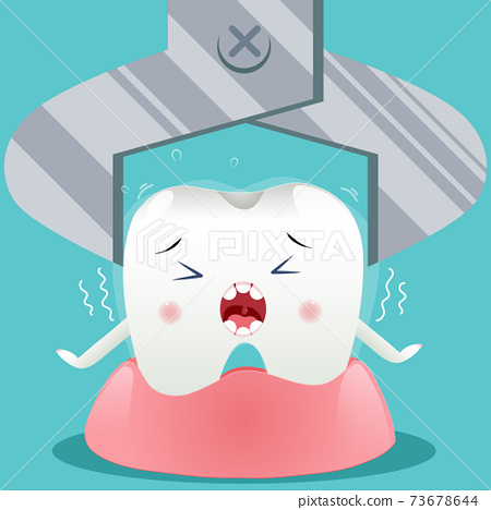 Cute cartoon with tooth extraction character, children dentistry concept. Vector Illustration 73678644