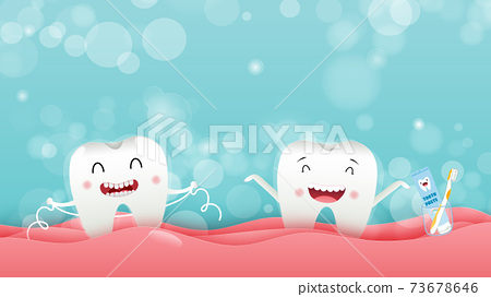 Cute cartoon with happy tooth character oral dental hygiene, children dentistry concept. Vector Illustration 73678646