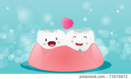 Cartoon tooth happy after brushing teeth, using a magnifying glass to look on a blue background Orthodontic and more. Vector illustration 73678672