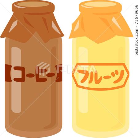 빈 들어가 커피 우유와 과일 우유 73679666