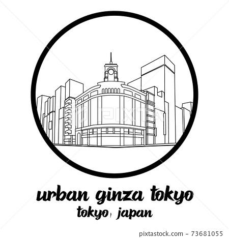 Bangkok, Thailand. 08 01 2020. Circle icon Urban Ginza in tokyo Japan icon. vector illustration 73681055