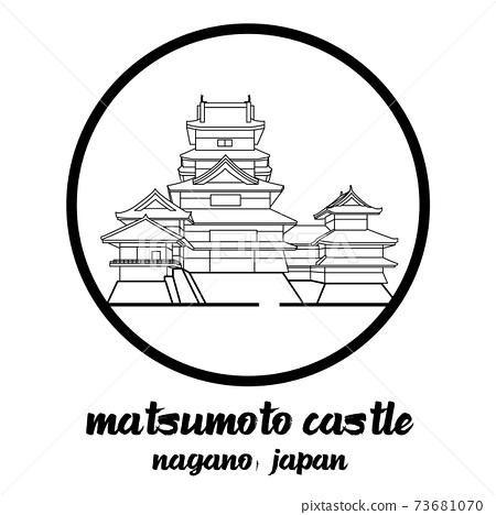 Circle icon line Matsumoto castle. vector illustration 73681070
