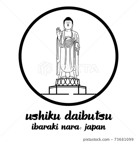 Bangkok, Thailand. 08 01 2020. Giant Buddha Great Buddha of Ushiku Daibutsu in ibaraki nara Japan. icon 73681099