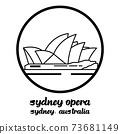Bangkok, Thailand - 08/01/2020: Opera House in Sydney Australia vector line icon. 73681149