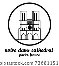 Circle Icon Notre Dame Cathedral. vector illustration 73681151