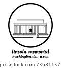 Circle Icon Lincoln Memorial. vector illustration 73681157