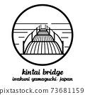 Circle icon line Kintai bridge. vector illustration 73681159