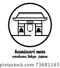 Circle icon line Kaminari mon. vector illustration 73681163